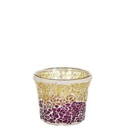 Purple & Gold Crackle Mosaic Votivkerzenhalter