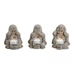 Buddha Teelichthalter mit Glas 3er Set